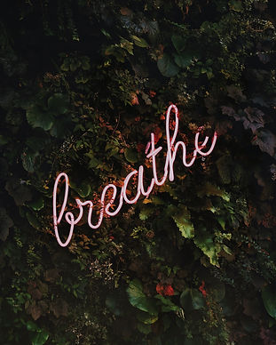neon sign of the word 'breathe'