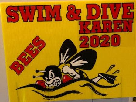 Bees Swim/Dive Yard Sign