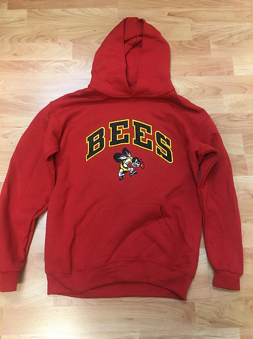 Red Cotton Hoodie - Arched BEES design