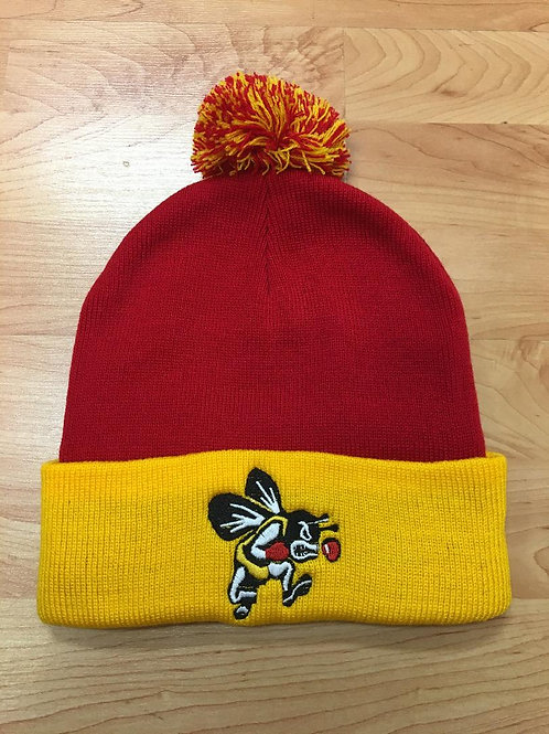 Red/Gold Knit Cap with Fighter Bee