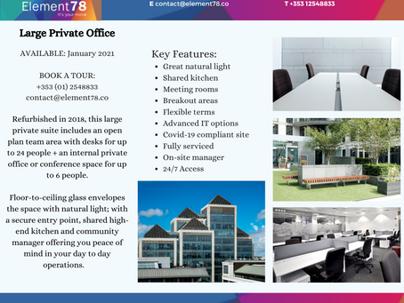 Large Private Office in Dublin City Centre - January 2021
