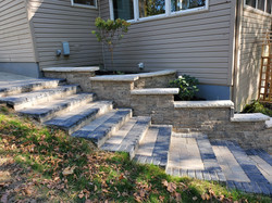 Paver stairway and retaining wall instal