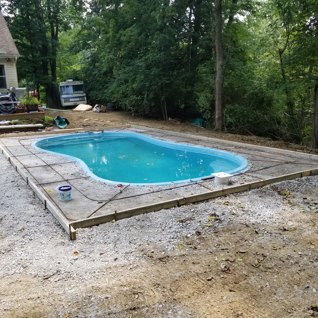 Concrete forms for pool area