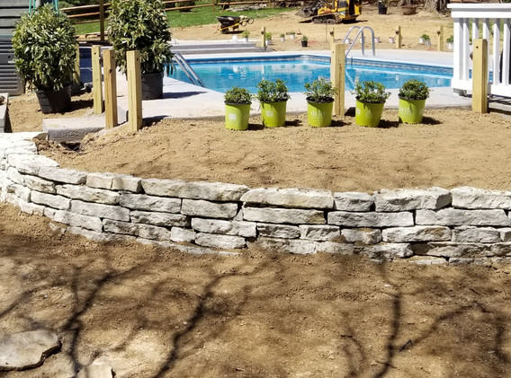 Natural Stone Retaining Wall-Dry Stack