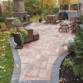 Paver patio overlay on concrete slab