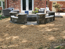 Exposed Concrete Patio with Seat Walls