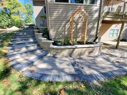 Paver patio, Retaining wall, Stairway an