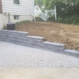 Allan Block retaining wall and limestone