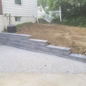 Allan Block retaining wall and limestone