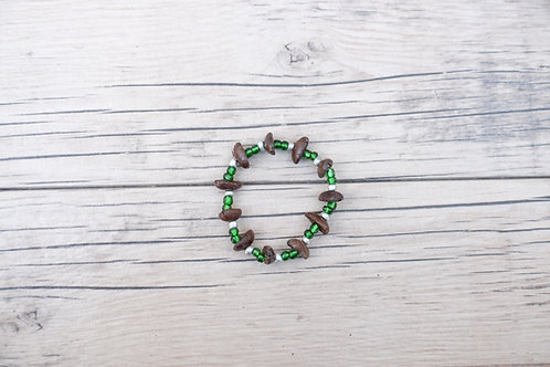 (small) Green/Silver Coffee Bean Bracelet