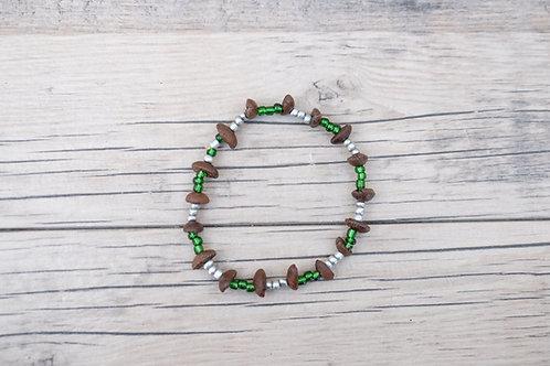 Green/Silver Coffee Bean Bracelet