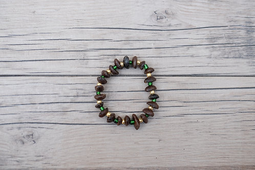 Gold/Green Coffee Bean Bracelet