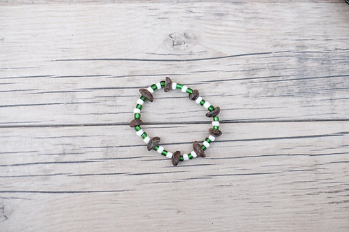 Green/White Coffee Bean Bracelet