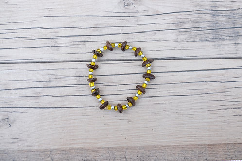 Yellow/Silver Coffee Bean Bracelet