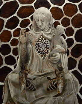 Queen of hearts grisaille by Clive Hedger