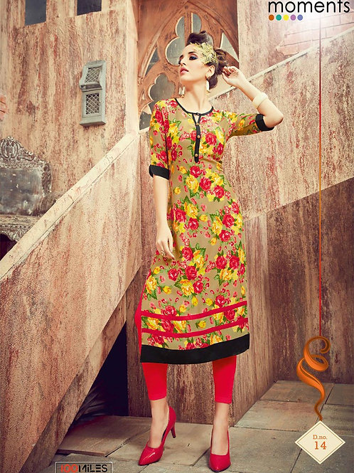 Printed Rayon Kurta - Multicolored Floral