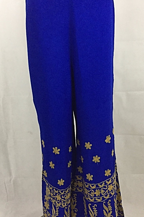 Rayon Palazzo with Thread work - Gold on Royal Blue