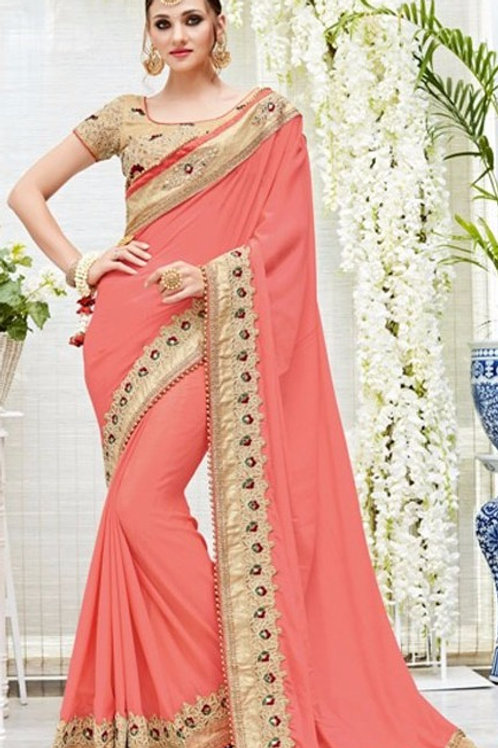 Peach Saree with Golden Border