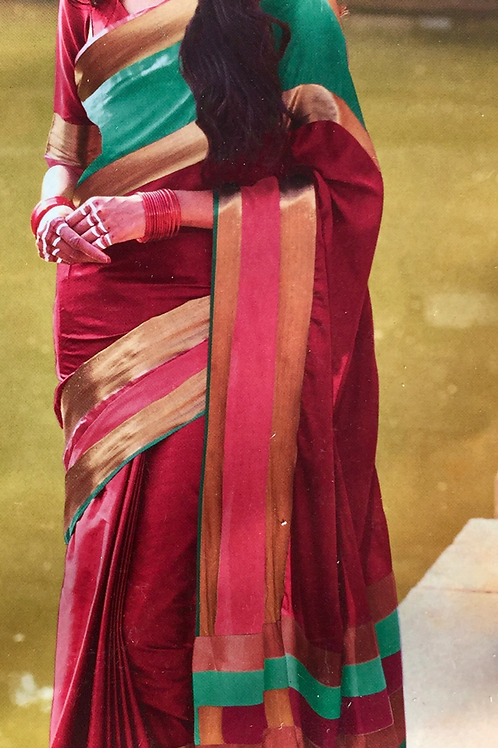 Woven Plain Art Silk Saree with Solid border - Red