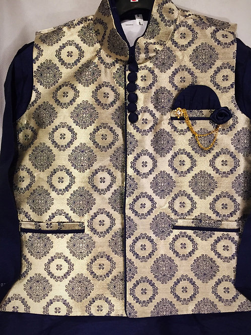 Kurta Set with matching Brocade Jacket - Navy Blue
