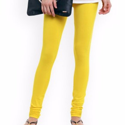 Knitted Cotton Free Size Churidar Leggings - Yellow
