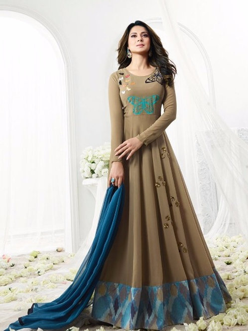 Brown Georgette Anarkali