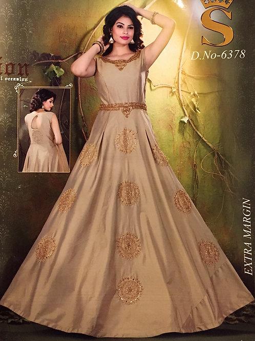 Golden Beige Indo Western Gown