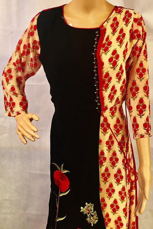 Party wear Kurta - Black & Red