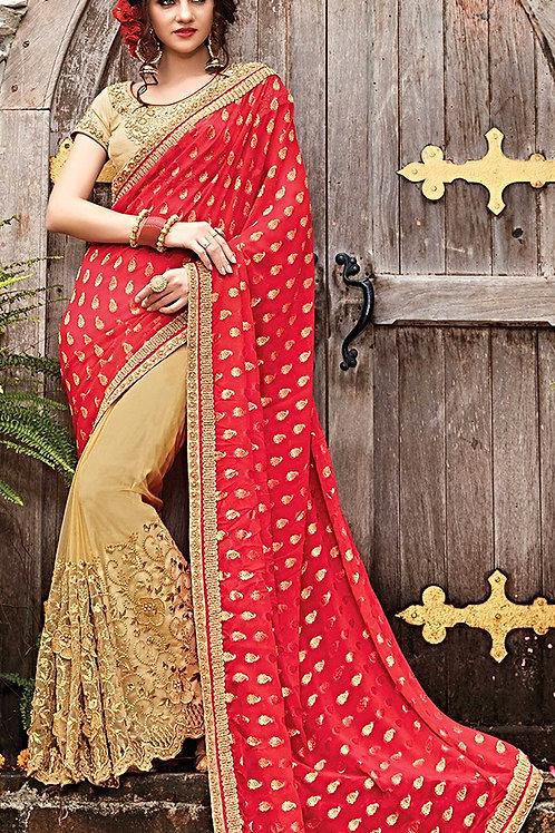Beige Net & Red Georgette Aanchal Saree
