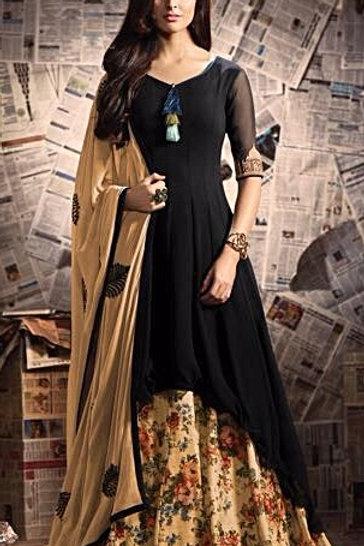 Black Georgette Floor Length Gown with Taj Mahal