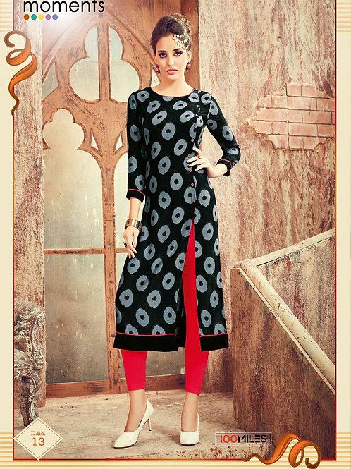 Printed Rayon Kurta - Black, Grey & Red