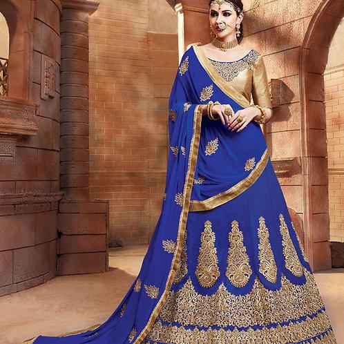 Embroidered Silk Lehenga - Royal Blue
