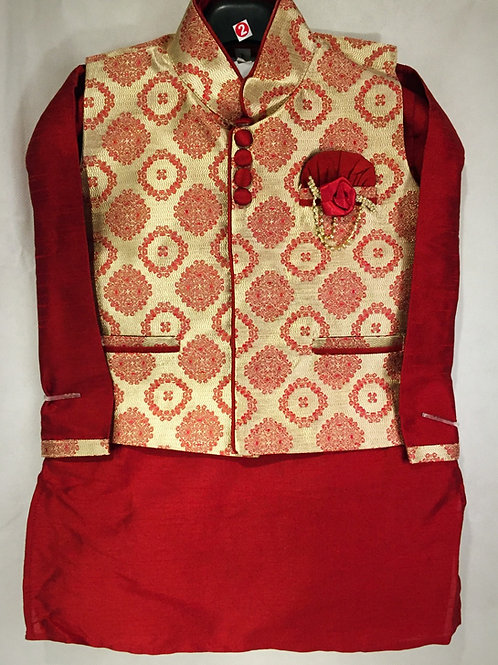 Kurta Set with matching Brocade Jacket - Maroon