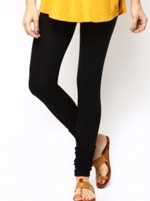 Knitted Cotton Free Size Churidar Leggings - Black