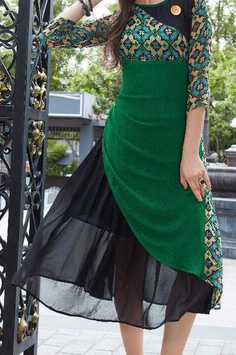 Georgette Party wear Kurta - Green & Black