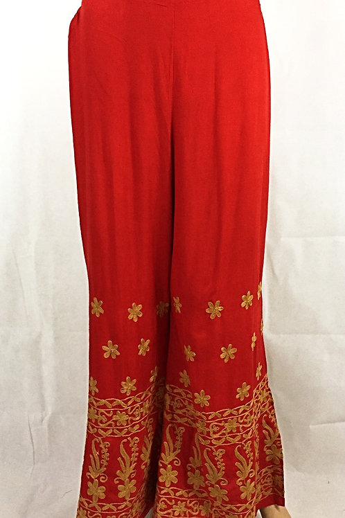 Rayon Palazzo with Thread work - Gold on Red