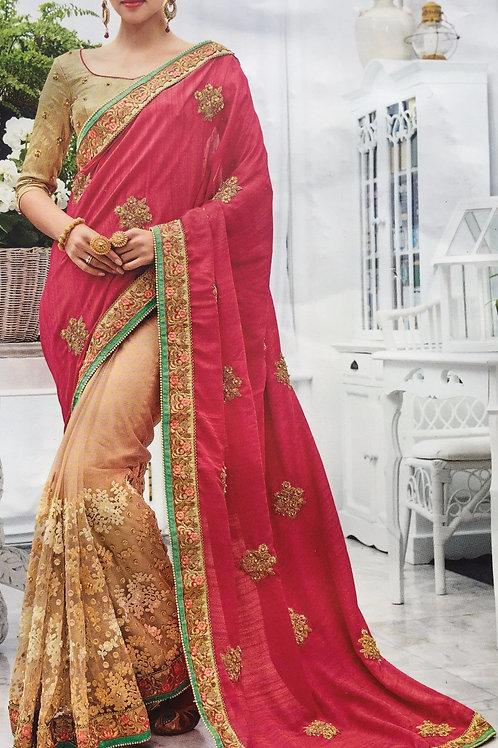 Pink Saree with Golden Border