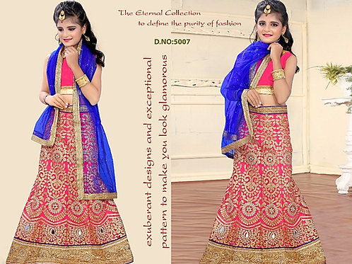 Embroidered Net Lehenga Girl - Rose