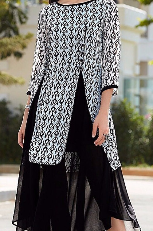 Georgette Gown Style Kurta - Black & Ivory