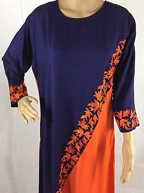 Rayon Kurta - Navy Blue with Orange Embroidery