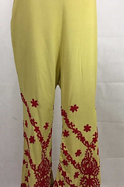 Rayon Palazzo with Thread work - Red on Light Straw Yellow