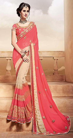 Peach & Golden Saree with Peach Border