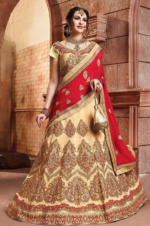 Embroidered Silk Lehenga - Golden (Bridal)