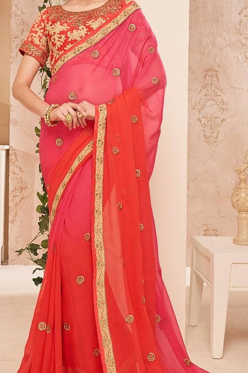 Georgette Chiffon Saree - Rose & Pink Shaded