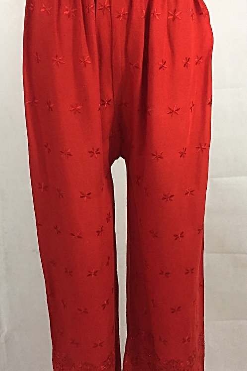 Rayon Palazzo with Thread work - Red