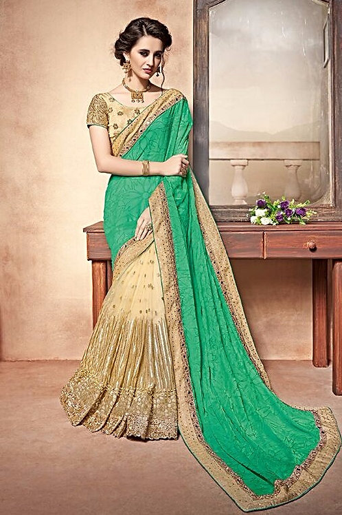 Beige Georgette Chiffon Saree with Green Aanchal