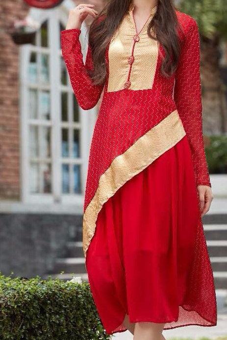 Georgette Party wear Kurta - Red & Golden