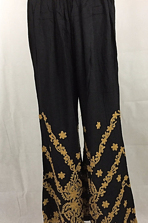 Rayon Palazzo with Thread work - Gold on Black