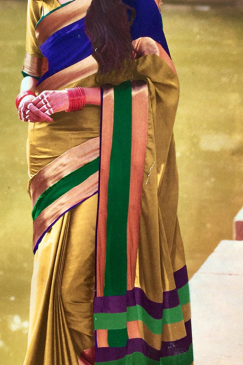 Woven Plain Art Silk Saree with Solid border - Golden