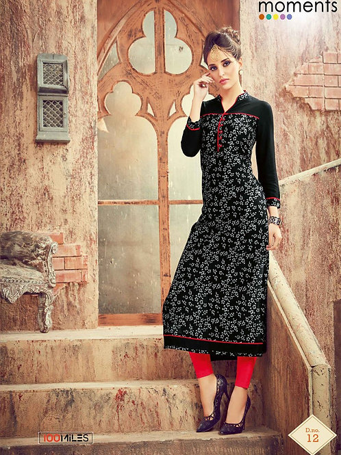 Printed Rayon Kurta - Black, White & Red